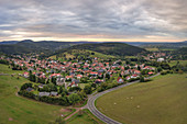 Aerial view of Rotterode, Steinbach-Hallenberg, Thuringian Forest, Rennsteig, Thuringia, Germany, Europe