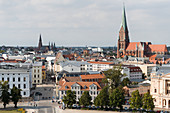 View from Schwerin Castle to the city, to the Mecklenburg State Theater, to St. Mary's Cathedral, to St. Paul's Church, Schwerin, Mecklenburg-Western Pomerania, Germany