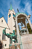St. Mang Fountain on St. Mang Square in Kempten, Bavaria, Germany