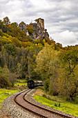 Historic railway in Wiesenttal below the Neideck ruin, Streitberg, Upper Franconia, Bavaria, Germany