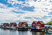 View of the fishermen's huts on the Weisse Wiek in Boltenhagen, Baltic Sea, Mecklenburg-Western Pomerania, Germany