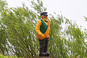 Fisherman, wooden sculptures, country feat, regulars, pit, Ostholstein, Schleswig-Holstein, sculptor Johannes Caspersen