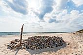 Stone castle on the beach in Klostersee, Baltic Sea, Grömitz, Ostholstein, Schleswig-Holstein, Germany
