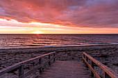 Sunrise on the beach of Rosenfelde, Baltic Sea, Ostholstein, Schleswig-Holstein, Germany