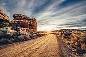 Road at sunrise in in Canyonlands National Park, Utah, USA, North America