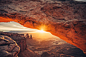 Sunrise at Mesa Arch in Canyonlands National Park, Utah, USA, North America