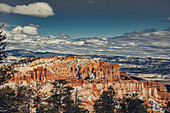Rock formations in Bryce Canyon with snow, Utah, USA, North America