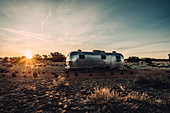 Airstream at sunrise in Williams, Flagstaff, Grand Canyon, Arizona, USA, North America