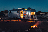 Illuminated Airstream at night in Williams, Flagstaff, Grand Canyon, Arizona, USA, North America