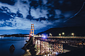 Golden Gate Bridge at night, San Francisco, California, USA, North America, America