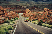 Red sports car in Valley of Fire State Park, Las Vegas, Nevada, USA, North America, America