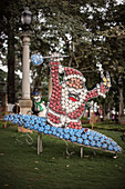 Santa Claus on plastic bottles in Parque Principal, Barichara, Departmento de Santander, Colombia, South America