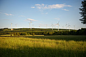 Wind farm in the forests of Rhineland-Palatinate, Germany, Europe
