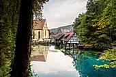 Hammerschmiede and monastery at Blautopf, Blaubeuren, Alb-Donau district, Swabian Alb, Baden-Wuerttemberg, Germany, Europe