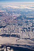 Industrial city on the river, aerial view, China, Asia