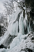 Frozen waterfall, Bad Urach, Reutlingen district, Swabian Alb, Baden-Wuerttemberg, Germany, Europe