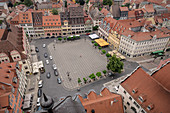 View from the St Wenzel tower on the market square, Naumburg an der Saale, Saxony-Anhalt, Germany, Europe