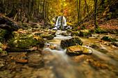 Autumn at the Josefstaler waterfalls, Schliersee, Bavaria, Upper Bavaria, Germany