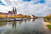 View of Regensburg from the Iron Bridge, Regensburg, Bavaria, Germany