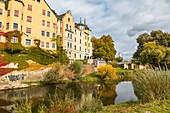 Am Beschlächt mit Sicht auf Jahninsel in Regensburg, Bayern, Deutschland
