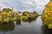 View of St. Mang from the Steinerner Brücke in Regensburg, Bavaria, Germany