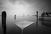 View of a fishing net in the port of Pellestrina, Venice Lagoon, Pellestrina, Veneto, Italy, Europe