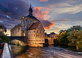 Old town hall in Bamberg at the blue hour, Upper Franconia, Franconia, Bavaria, Germany, Europe | City of Bamberg during sunset. UNESCO World Heritage