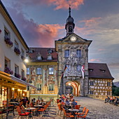 Old town hall in Bamberg, Strassencafe, Upper Franconia, Franconia, Bavaria, Germany, Europe | City of Bamberg, street cafe, UNESCO World Heritage