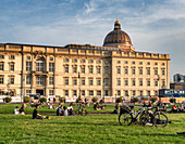 Berlin city palace, facade, pleasure garden, lawn, Berlin, Germany,