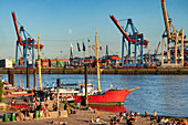 Busy Elbe beach, behind it a historic ship in the museum harbor Övelgönne, Elbe river and Hamburg harbor, Hanseatic City of Hamburg, Germany, Europe