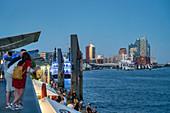 St. Pauli Landungsbrücken, Elbphilharmonie at the blue hour, HafenCity, Hamburg, Germany, Europe
