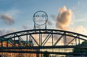 Speicherstadt Hamburg, bridge with funny girls, HafenCity, Hamburg, Germany