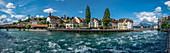 Panorama Lucerne, river Reuss, Switzerland | Panorama on the river Reuss in Lucerne, Switzerland