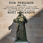 Statue of Dom Perignon, Moet et Chandon, LVMH, Louis Vuitton Moet Hennessy Group, Epernay, Champagne, France
