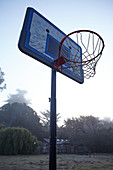 Basketball hoop in the morning light at Point Reyes, California, USA.