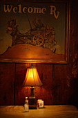 Table light, Cold Spring Tavern, Santa Barbara, California, USA.