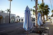 Folded umbrellas on Linden Ave in Carpinteria, Santa Barbara, California, USA.