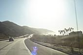 Highway 101 in the morning haze near Santa Barbara, California, USA.