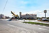 Airplane Monument in the roundabout, center of Tuzla, Constanta, Black Sea Coast, Romania.
