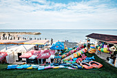 Black Sea coast: stalls on the beach, Olimp, Constanta County, Romania.