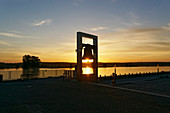 Peace Bell, Oder, Frankfurt / Oder, sunrise, view to Poland, Land Brandenburg, Germany