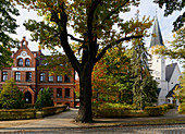 Town hall and church, Zeuthen, State of Brandenburg, Germany