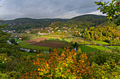 View from the Neideck castle ruins to the village of Streitberg, Wiesenttal, Franconia, Bavaria, Germany