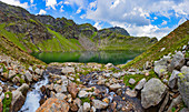Mountain hiking in the Texel Group Nature Park, the Spronser Lakes area, the largest high-alpine lake district in Europe. The Grünsee lies at 2,338 m above sea level and is a hydrological natural monument.