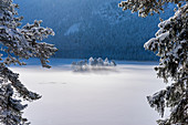 Frozen Eibsee, Garmisch-Partenkirchen, Bavaria, Germany