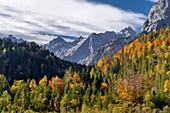 Sonniger Herbsttag im Karwendel, Hinterriß, Tirol, Österreich