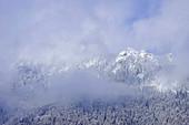 Der Laber im Winter von Wolken umhüllt, Ettal, Bayern, Deutschland