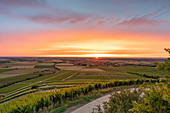 Summer sunset over Rödelsee, Schwanberg, Kitzingen, Lower Franconia, Franconia, Bavaria, Germany, Europe