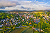 Aerial view of Greding, Roth, Middle Franconia, Franconia, Bavaria, Germany, Europe