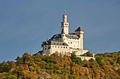Die Marksburg in Braubach, Unesco-Welterbe Oberes Mittelrheintal, Mittelrhein, Rheinland-Pfalz, Deutschland, Europa